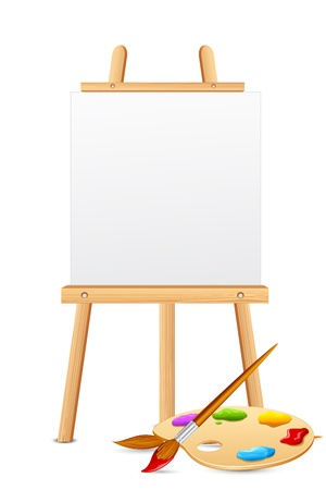 illustration of easel with color brush and palette
