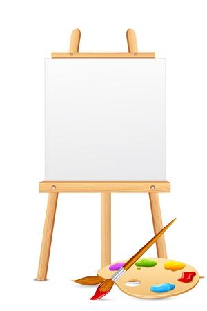 artistas: ilustraci�n de caballete con un cepillo de paleta de color y Vectores