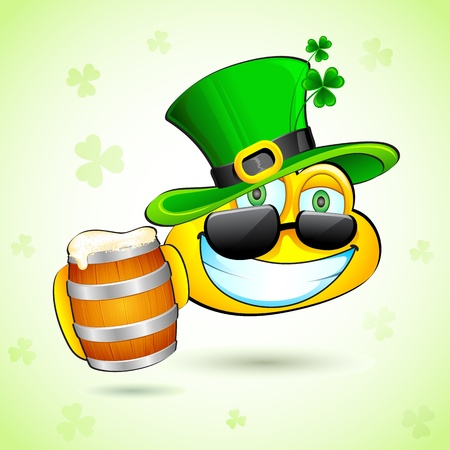 illustration of smiley with beer mug wishing saint patricks day Vector