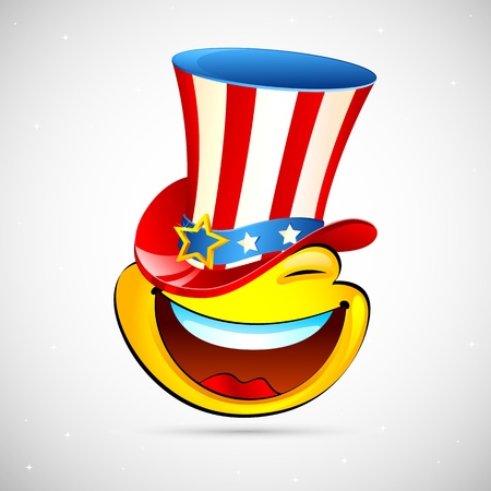 freedom of expression: illustration of smiley with american hat on abstract background