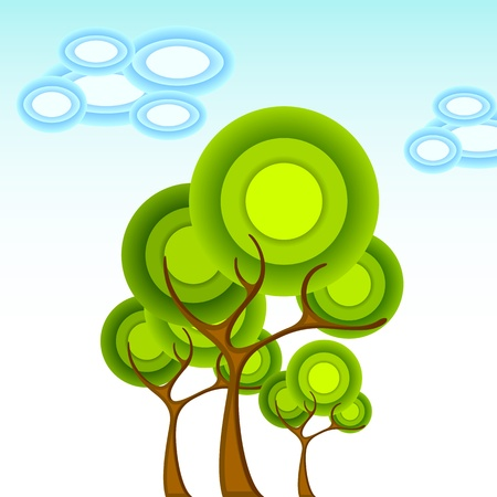 tall tree: illustration of abstract tree in circular pattern