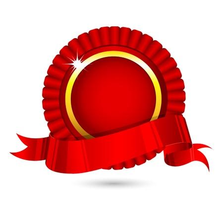 illustration of ribbon badge on white background Vector