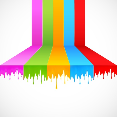 drip: illustration of multicolor paint dripping on abstract background Illustration