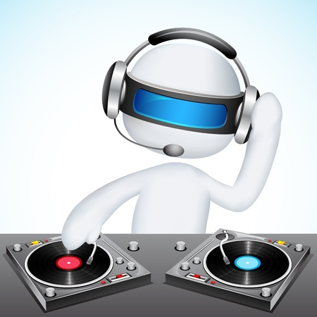 dj headphones: illustration of 3d jockey in vector fully scalable mixing song