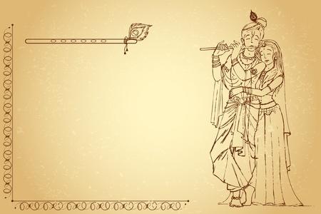 flauta: ilustración de la diosa hindú Radha y Krishna Señor en papel antiguo Vectores