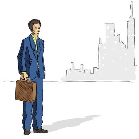 illustration of business man standing on city backdrop Stock Vector - 12368930