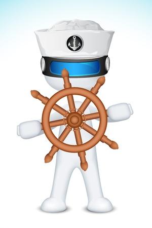 capitan de barco: 3d ilustraci�n de marinero en el vector completamente escalable con una rueda de barco de direcci�n Vectores