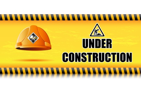 commercial construction: illustration of hard hat on under construction board