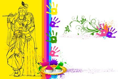 krishna: illustratie van Radha Krishna met vakantie behang Stock Illustratie