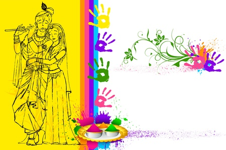 illustration of Radha Krishna on holi wallpaper Vector