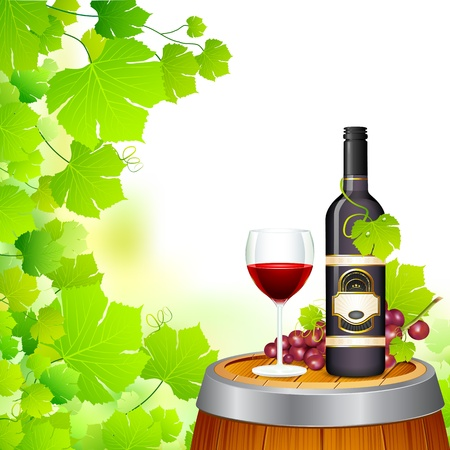 wine barrel: illustration of wine glass and bottle in wineyard Stock Photo