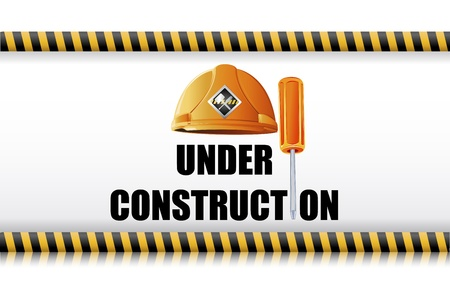 illustration of hard hat with screw driver on under construction board Vector