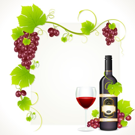 wineyard: illustration of red grape with bottle of red wine and glass full of wine with copy space