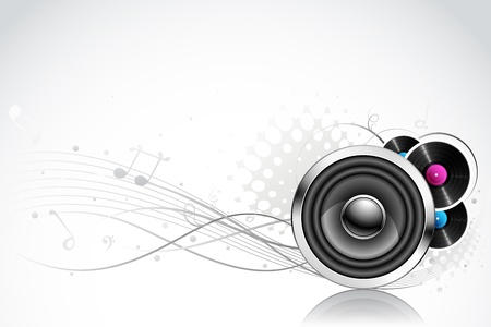 electronic music: illustration of speaker on abstract musical background Illustration