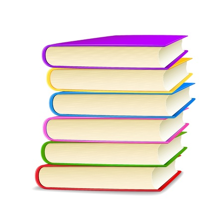 stack of documents: illustration of stack of colorful books on white background