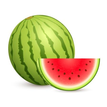 illustratie van sappige watermeloen gehouden op een witte geïsoleerde achtergrond Vector Illustratie