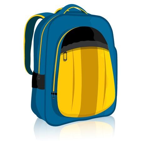 mochila escolar: ilustraci�n de la mochila sobre un fondo blanco aislado