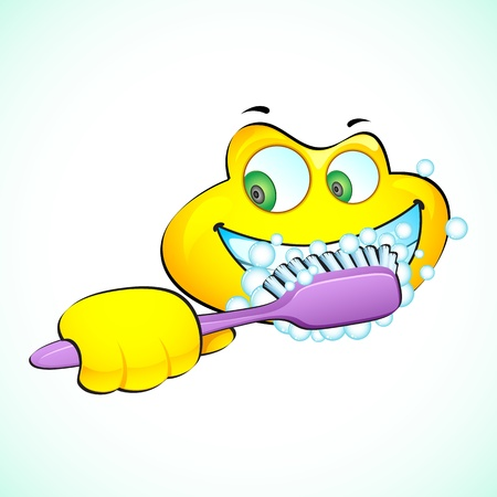 toothpaste: illustration of smiley face brushing teeth with toothbrush