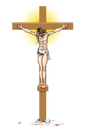 crucified: illustration of Jesus Christ on cross on white background