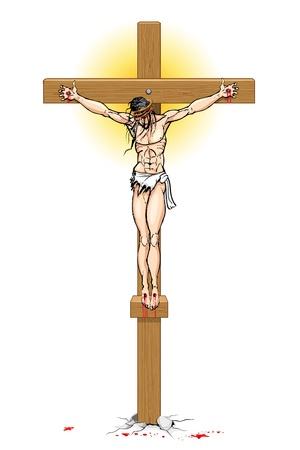 wooden cross: illustration of Jesus Christ on cross on white background