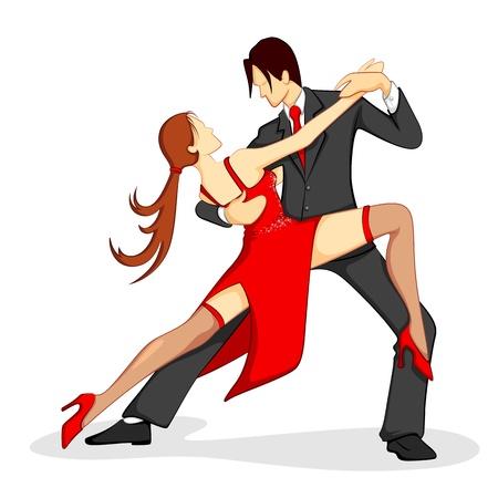 サルサ: 白い背景の上のサンバのダンスを実行するカップルのイラスト