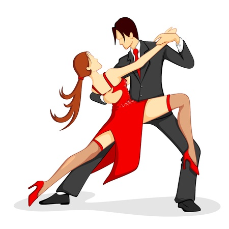 illustration of couple performing samba dance on white background Vector