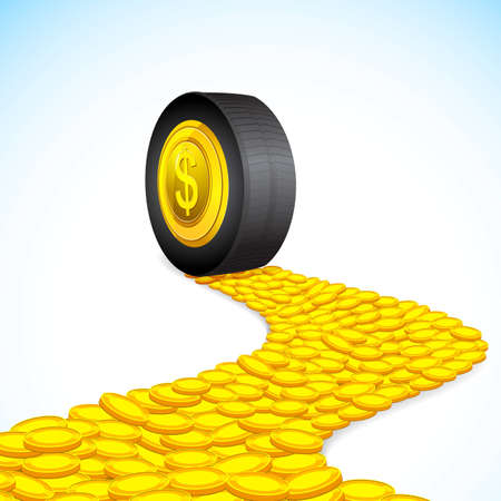 illustration of road of coin with tyre on it Stock Vector - 12369004