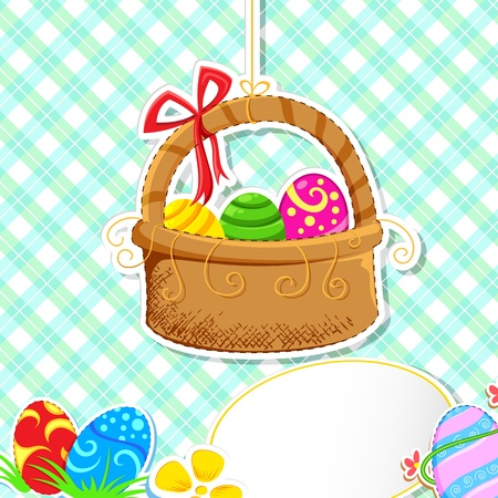 easter basket: illustration of basket full of colorful decorated easter eggs with ribbon