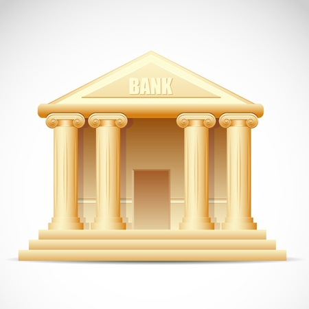 illustration of bank building on white background Vector