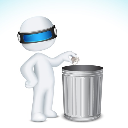 waste basket: illustration of 3d man in fully scalable vector putting paper crushed in dustbin Illustration
