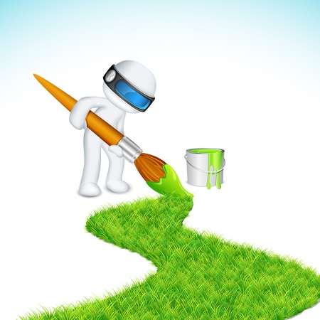 illustration of 3d man in vector fully scalable painting grass road Stock Vector - 12369024