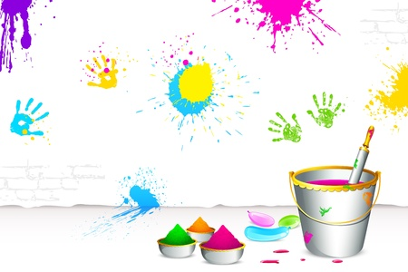 illustration of colorful spalsh on wall with bucket full of color and pichkari Vector
