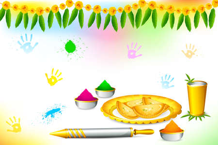 thali: illustration of happy holi wallpaper with colors and sweet Stock Photo