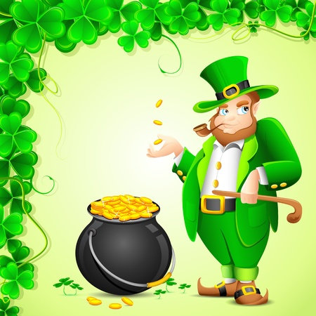 illustration of Leprechaun with smoking pipe and gold coin pot of saint patrick s day Vector