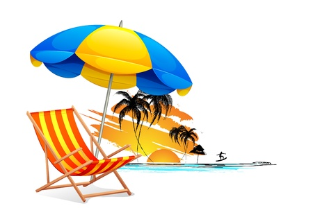 beach chairs: illustration of  chair on beach background with palm tree