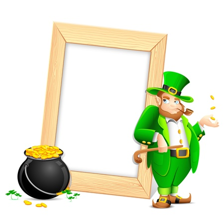 illustration of Leprechaun with smoking pipe and gold coin pot near photo frame Vector