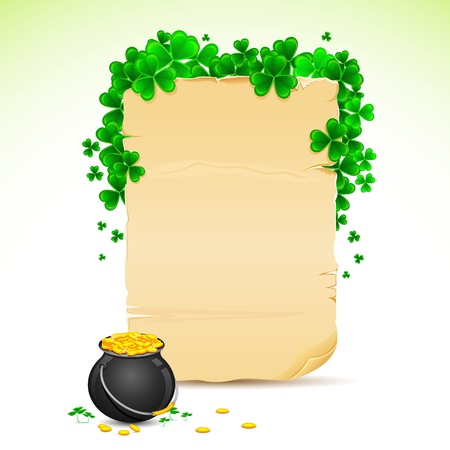 illustration of Saint Patrick s Day card with clove leaf and gold pot illustration