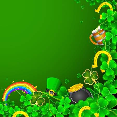 illustration of Saint Patrick s Day background with clover leaf and gold coin Vector