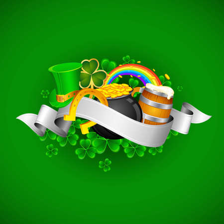 illustration of Saint Patrick s Day background with clover leaf and gold coin Stock Vector - 12369023
