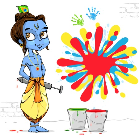 illustration of baal Krishna playing holi with colors and pichkari illustration