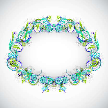 illustration of circular colorful floral frame on abstract background Stock Illustration - 12369029