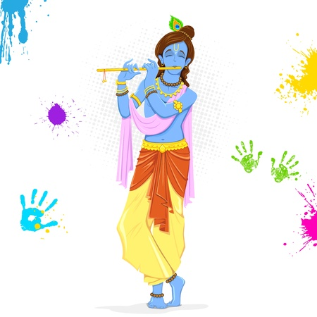 hinduism: illustration of  Krishna playing holi with colors and pichkari