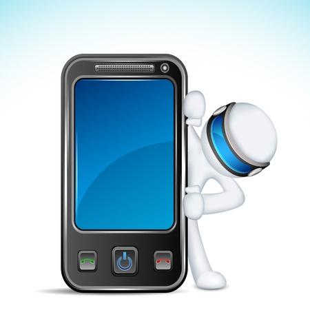 man on cell phone: 3d ilustraci�n del hombre en el vector completamente escalable con el tel�fono m�vil