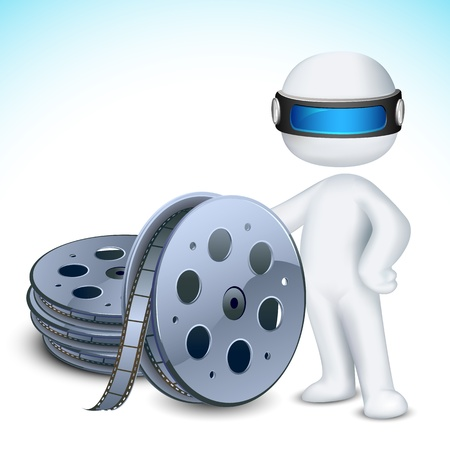 illustration of 3d man in vector fully scalable with film reel illustration