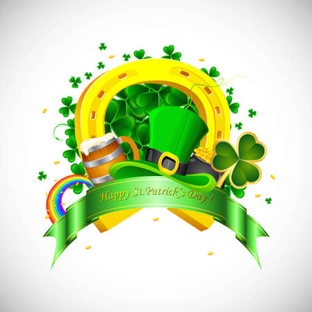 st  patrick: illustration of Saint Patrick s Day background with clover leaf and gold coin Illustration