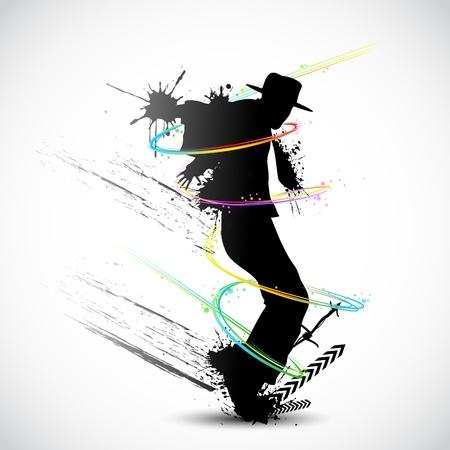 illustratie van de danser met grunge en kleurrijke swirl Stock Illustratie