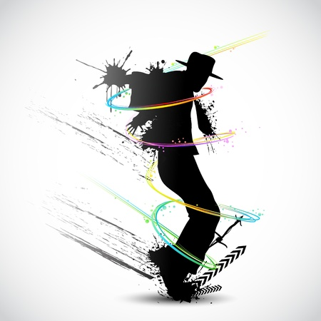 male fashion model: illustration of dancer with grunge and colorful swirl