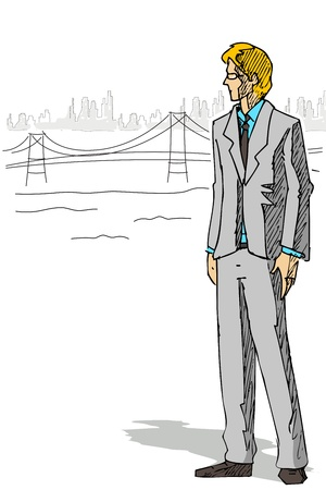 illustration of businessman standing on city backdrop Vector