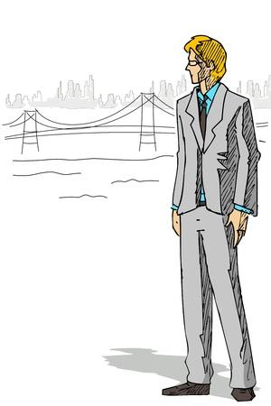 illustration of businessman standing on city backdrop Vector
