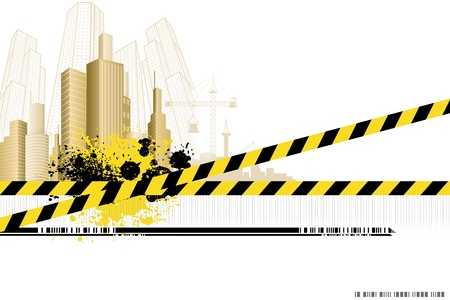 illustration of under construction site with building Vector